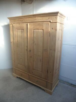 A Georgian Antique/Old Pine 2 Door Panelled Knockdown Wardrobe to Wax/Paint