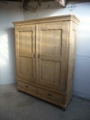 A Georgian Pretty Antique Pine 2Door Panelled Knockdown Wardrobe to Wax/Paint