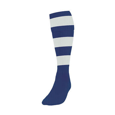 Precision Hooped Junior Adult Football Rugby Sport Socks (Pair) Navy/White
