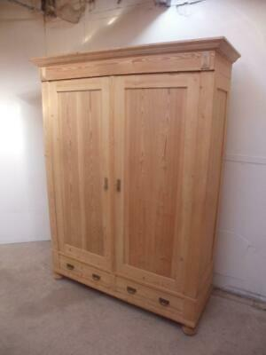 A Victorian Antique/Old Pine 2 Door Large Knockdown Wardrobe to Wax/Paint