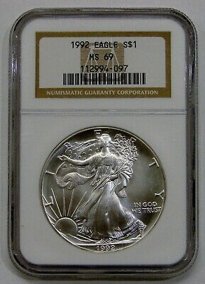 1992 - Silver American Eagle - NGC MS 69 - Brown Label