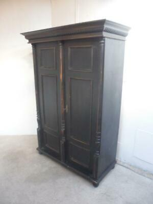 A Victorian Black Painted Antique/Old Pine 2 Door Knockdown Hall Wardrobe