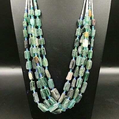 Wonderful Rare Ancient old Roman Glass  Beads Lot 5 Necklace