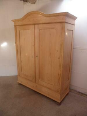 A Victorian Antique/Old Pine 2 Door Large Arched Knockdown Wardrobe to Wax/Paint