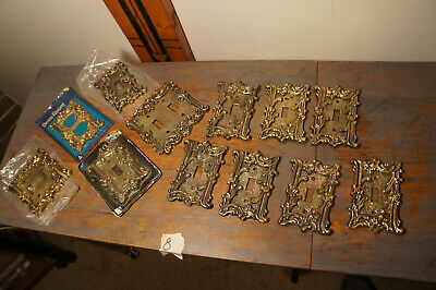 Lot: 11 Amer Tack 1968 75TT ? Vintage Floral Switch Wall Cover Plate Aged Brass