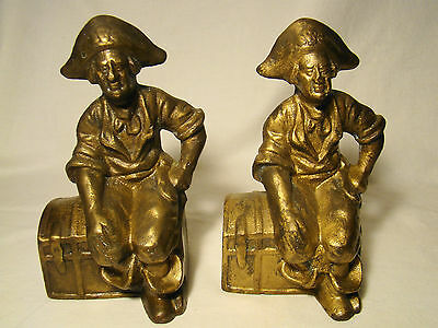 Pair of Cast Iron Gilt Finish Pirate on Treasure Chest Heavy Bookends 20th c