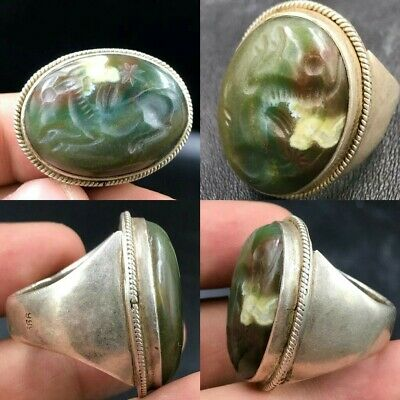 Lovely Ancient Roman Jade Stone Running Horse Signet Solid Silver Ring
