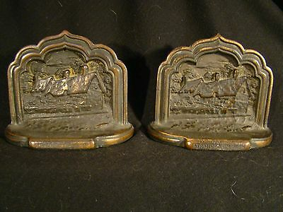 Pair of Cast Iron Copper Finish Stratford On Avon Bookends
