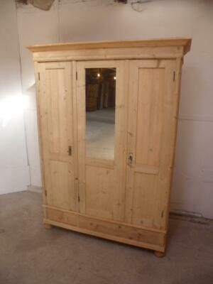 A Mirrored Antique/Old Pine Triple 3 Door Large Knockdown Wardrobe to Wax/Paint