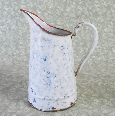 Antique French Small Seamed Enamel Jug White / Blue Marbled Pitcher