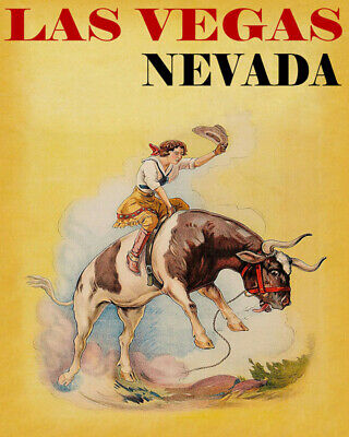 POSTER DENVER COLORADO RODEO BRONC RIDING HORSE COWGIRL VINTAGE REPRO FREE S//H