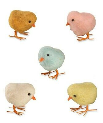 Bethany Lowe Set of 5 Mini Felted Wool Easter Chicks RL4701 New MWT