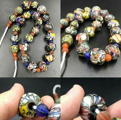 Roman Old Mosaic Glass and melon ancient glass Wonderful Beads Strand Necklace