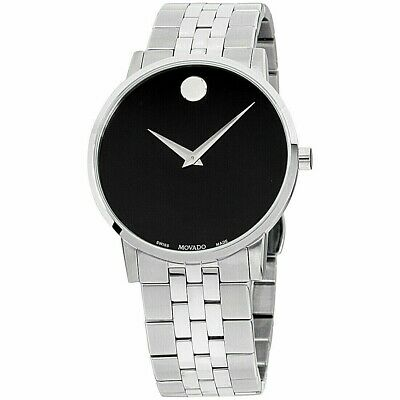 Movado Museum 0607199 Swiss Men's Watch Black Dial Box & Papers BRAND NEW