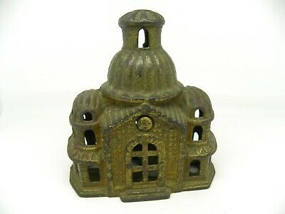 Vintage Cast Iron Savings Bank  Hospital W/ Locking Key