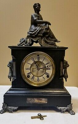 Antique  Black Slate  Marble Inlays Beveled Glass Mantle  Winsted Clock Co.