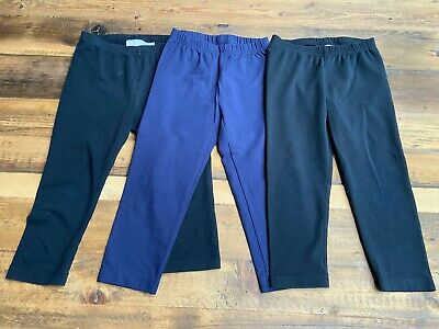 Lot of 3 Hannah Andersson Livable Cropped Leggings - 2 Black 1 Navy 130 US 8