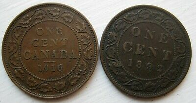 (2) Canada Large Cents 1916 & 1892 Victoria and Edward
