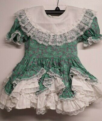 Lid'L Dolly's Vintage Girls 4T Tiered Ruffle Lace Circle Dress Green Floral USA