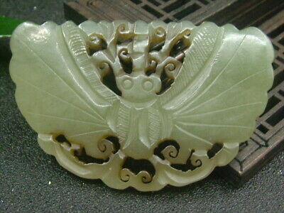 Chinese Antique Celadon Nephrite Hetian-Jade Butterfly statues/Pendant 390