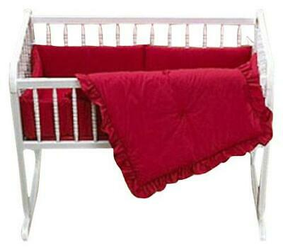 Baby Doll Bedding Solid Cradle Set, Red