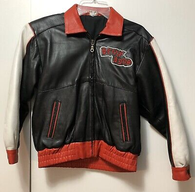 Vintage Betty Boop Leather Bomber Jacket Girls Size 10 Black & Red Free Shipping