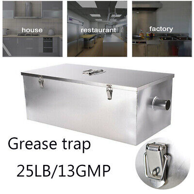 For Commercial Restaurant Wastewater Grease Trap 25lb 13GPM Stainless Steel