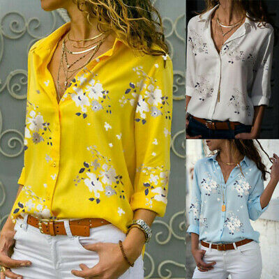 Women Stylish Button Floral Loose T Shirts Ladies Long Sleeve Casual Blouse Tops