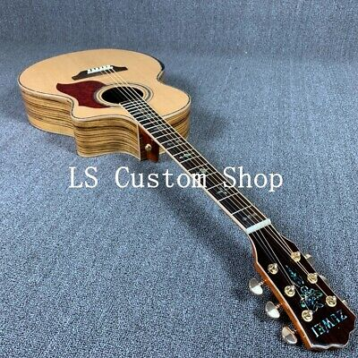 Handmade 40'' Cutway Top Quality Solid Top Acoustic Guitar Zebra Maple Back&side