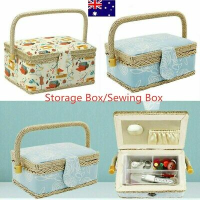 With Handle Home Sewing Storage Box Container Fabric Craft Floral Basket Women