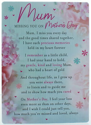 """Loving Memory Graveside Memorial Card 6.5x4.75"""" Mum Missing You on Mother's Day"""