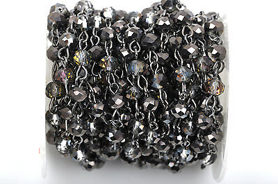 1yd Smoky Grey AB Crystal Rondelle Rosary Chain, gunmetal, 6mm beads fch0433a