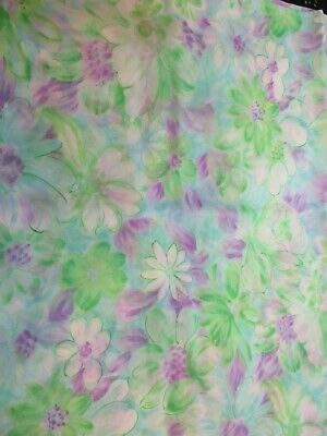 "VINTAGE 1960's SHEER POLYESTER BLUE GREEN PURPLE FLOWERS FABRIC 44"" x 4 Yards"