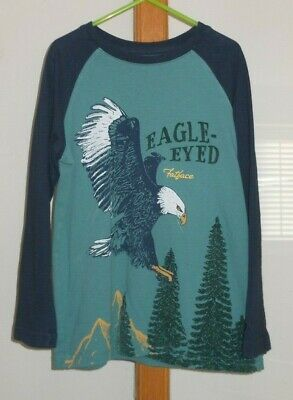 FAT FACE - Boys Long Sleeved Green Navy Eagle Top Size 6-7 Years