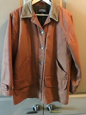 Lands End Womens Brown Barn Field Coat Flannel Lined Corduroy Trim Size M 10-12
