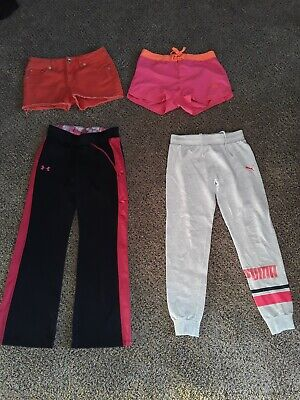 Lot of 4, Under Armour & Puma pants, Nike & Justice youth girls size Large.