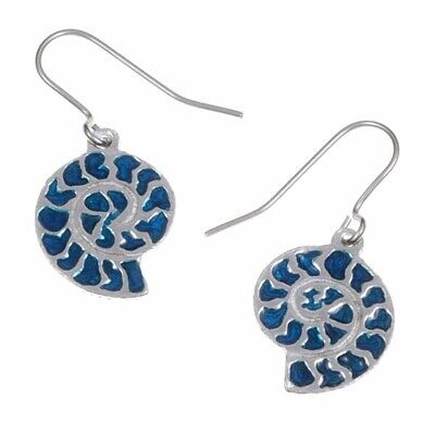 New St Justin Pewter Blue Enamel Ammonite Drop Earrings in Gift Box PE732