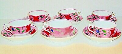 Antique Set of 6 Pink Lustre cups and saucers, hand painted, Rare!