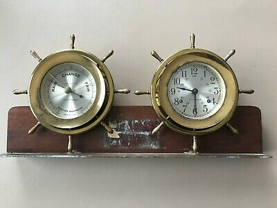 Seth Thomas Helmsman Brass Ships Clock and Barometer with stand