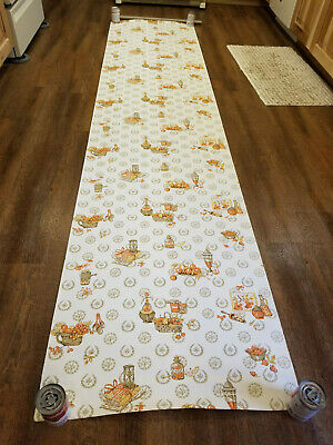 """VINTAGE WALLPAPER - ONE ROLL - KITCHEN, For CRAFTING or DECORATING, 9' 8"""" LONG"""