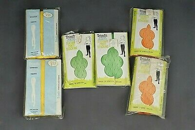 VTG Lot of NOS 6 Girl's 60s Bright Trimfit Stockings / Tights Sz 10-12 1960s