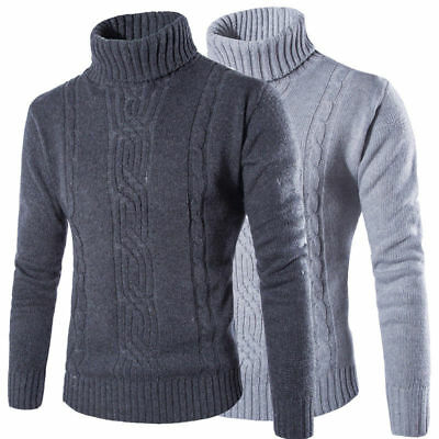 Mens Winter Warm Knitted Roll Turtle High Neck Pullover Jumper Tops Sweater 2XL