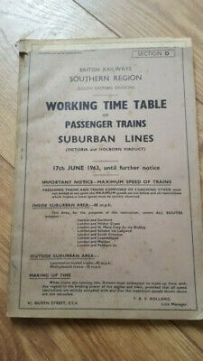 BR Southern Region June 1963 Passenger Working Timetable Section D Suburban