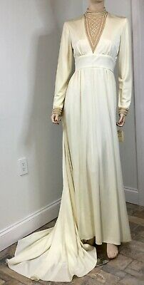 """Vtg 70s Charmonte Ivory Knit High Neck Wedding Dress Bust 34"""" Fair Condition"""