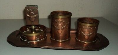 Antique Arts and Crafts Copper 4 Piece Smokers set + Tray Art Nouveau Balloon