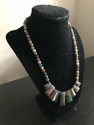 Fine Vintage Carved Chinese Agate Stone Graduated Necklace Art Jewelry