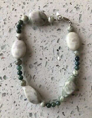 Fine Old Chinese Green Jade Pudding Stone Sterling Silver 925 Art Bracelet NR