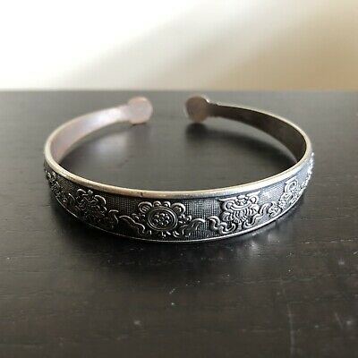 Fine Old Chinese Sterling Silver 925 Export Scholar Art Bangle RARE Jewelry