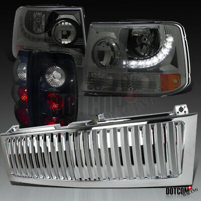 For 1999-2002 Silverado LED Smoke Headlights Pair+Hood Grille+Black Tail Lamps
