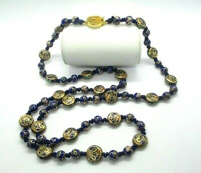 """VINTAGE CHINESE BLUE CLOISONNÉ ENAMEL DBL  Knotted FLOWER BALL BEAD NECKLACE 25"""""""